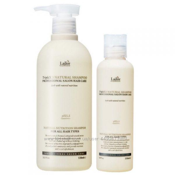 Безсульфатный органическ. шампунь Lador Triplex Natural Shampoo 150 и 530мл