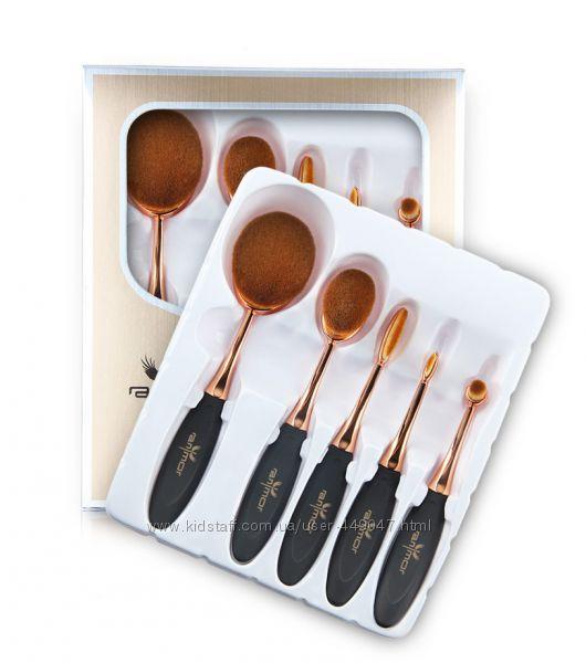 Профессиональный набор овальных кистей для макияжа Oval Toothbrush 5 шт