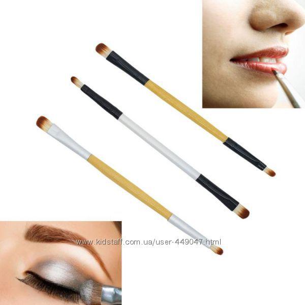 Двусторонняя кисточка для макияжа глаз и губ с деревянной ручкой