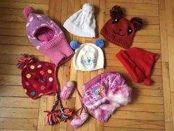 Шапка, ушанка для девочки деми, зима, 4-9 лет