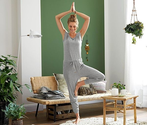 Комбинезон TCM Tchibo серый меланж для йоги