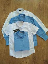 Новая рубашка Некст р. 8 лет голубая длинный рукав