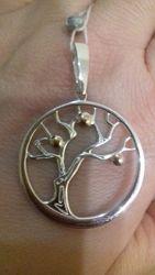 Подвеска дерево с золотыми яблочками. Серебро 925, золото 375
