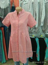 Платье летнее для беременных в клетку
