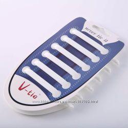 12шт в наборе силиконовые шнурки резиновые ленивые  белые и чёрные