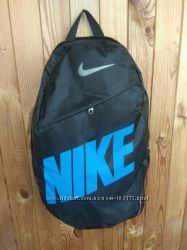 Стильный городской спортивный рюкзак NIKE, цвет черный с синей надписью