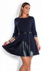 синее платье с юбкой из эко кожи -54р