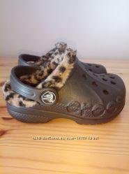 Сабо crocs kids baya leopard liner clog