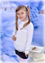 Блуза в школу трикотаж с шифоном Little Winners 122-140