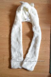 Біла шапка-шарф-рукавички  C&A