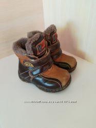 Кожаные зимние ботинки МхМ натуральная цигейка р. 21