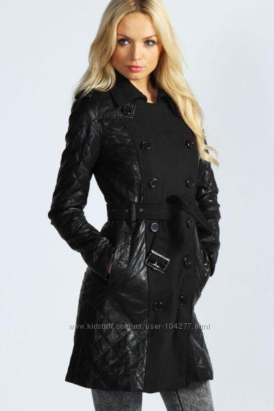 Стеганое тренч-пальто с кожаными вставками Boohoo, р. М, Англия