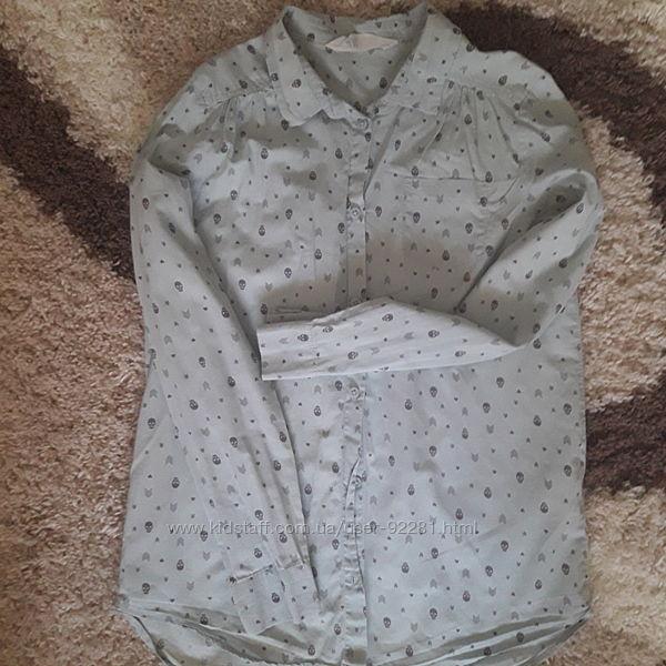 Классная рубашка в принт черепушек H&M 10-12 лет