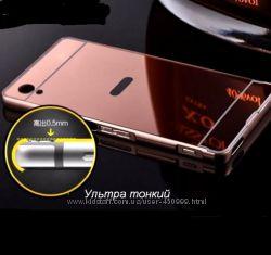 Металлический зеркальный чехол бампер для Sony Xperia M4 Aqua