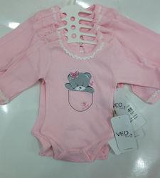 Бодик для девочки от 0-18 месяцев VEO Baby  Розовенький