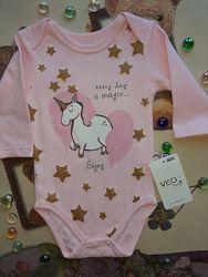 Бодик для девочки от 0-18 месяцев VEO Baby Розовый