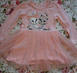 Платье Breezeс длинным рукавом для девочки.  Персиковое