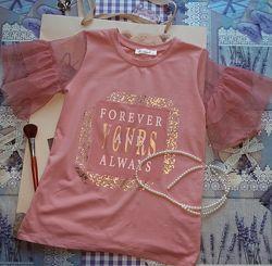 Стильная футболка на девочку. Турция  Dominik  Пудрово-розовая