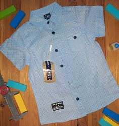 Хлопковая Рубашка на мальчика. Голубая  Турция CNS  Размеры 5, 6, 7, 8 лет