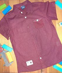 Хлопковая Рубашка на мальчика. Бордовая Турция CNS  Размеры 5, 6, 7, 8 лет