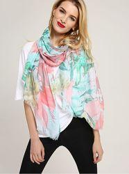 Легкий Женский шарф с цветком. Арт. B4-17