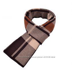 Классный теплый мужской шарф Fonda. Клетка. Коричневый
