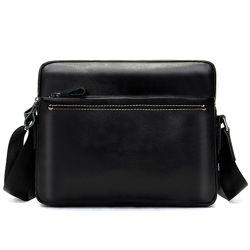 Кожа. Стильная мужская сумка. Горизонтальная. Черный