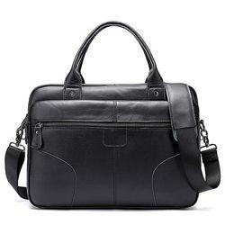 Кожа. Модный мужской портфель. Черный