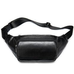 Кожа. Поясная кожаная сумочка черного цвета Cross