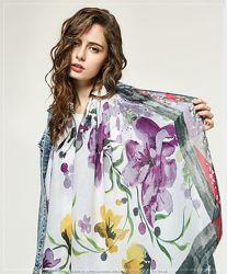Тонкий женский шарф с цветами арт. B4-7