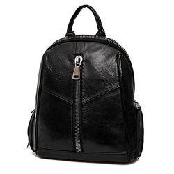 Кожа. Стильный женский рюкзак. Мягкий. Черный