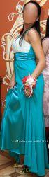 Вечернее платье с прозрачным нежно-бежевым болеро