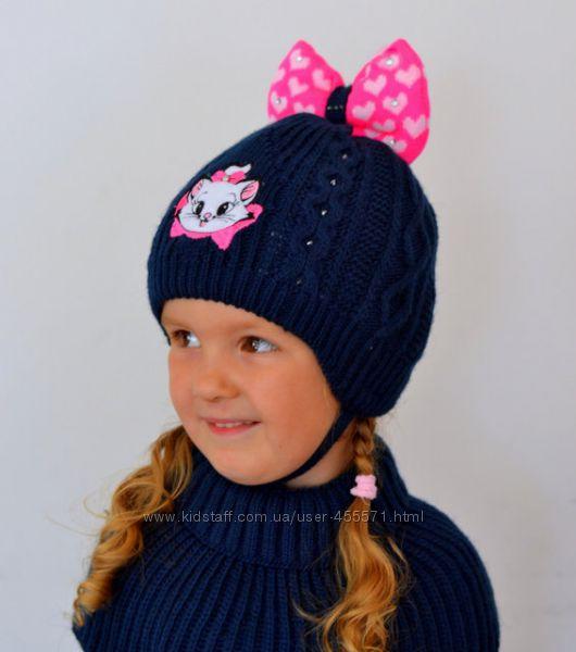 Зимние вязаные шапки для девочек