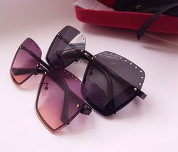 New - безоправные очки Gucci - линза polarized / Фирменный комплект- бархат