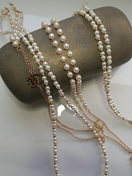 Женские жемчужные  цепочки для очков Chanel-made in Italy. Премиум серия