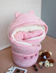 Конверт для новорожденных Мишутка розовый