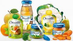 Пюре фруктовые, мясные, овощные, паучи, соки Gerber