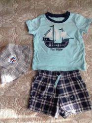 Летний комплект Carters для мальчика 12мес тениска шорты панамка