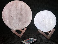 Портативный ночник светильник 3D Луна с пультом управления 15 см, 22 см
