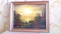 Картина нарисованная художником Закат пейзаж. В красивой рамке