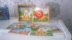 Bino Германия деревянные кубики дикие животные