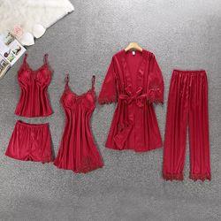 Акция Кружевная шелковый набор 5 ед. Ночнушка халат пижама