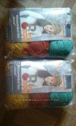 Упаковка ниток для вязания шапочки, с инструкцией