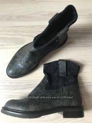Стильные ботинки 37 р Stokton. Синие и чёрные. Натуральная кожа и замша
