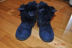 Зимние замшевые ботинки ушки с мехом