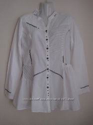 Рубашка белая вышивка мережка коттон Joe Browns новая L