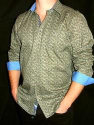 Шикарная рубашка цвета - хаки в цветочный принт - L - M