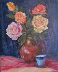 Картина Розы на синем бархате, холст, масло, 40 на 50 см