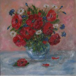 Картина Маки та польові квіти, холст, масло, 50 на 50 см
