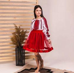 Комплект юбка и вышиванка красная вышивка